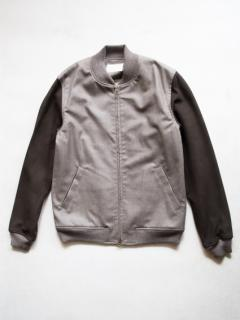 niuhans Sheepskin Sleeve Bomber Jacket (L.Brown)