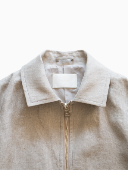 Irish Linen Zip-up Jacket  (Ecru)