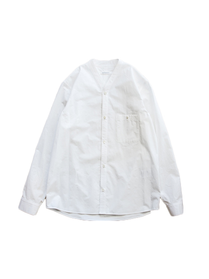 No Collar Cardigan Shirt (White)