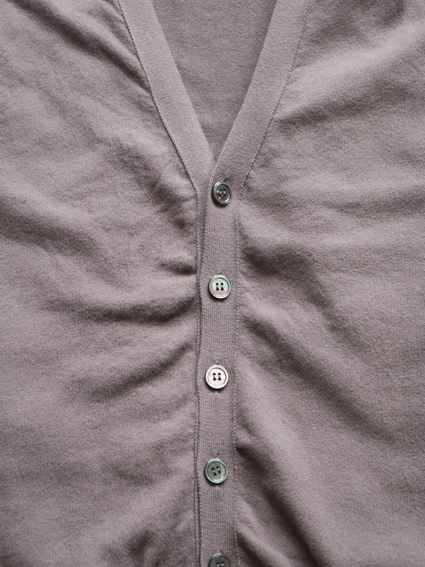 Smooth Dry Cotton V-Neck Cardigan (Graysh Brown)