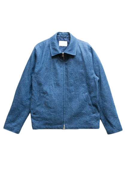 Irish Linen Cotton Denim Jacket (Dark Indigo)