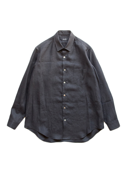 semoh Linen Gather Shirt (Black)