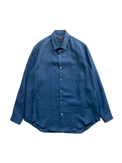 semoh Linen Gather Shirt (Blue)