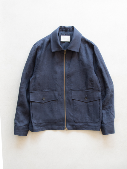 Irish Linen Zip-up Jacket  (Navy)
