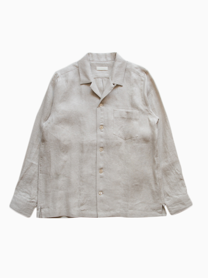 French Linen Open Collar L/S Shirt  (Ecru)