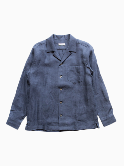 French Linen Open Collar L/S Shirt (Navy)