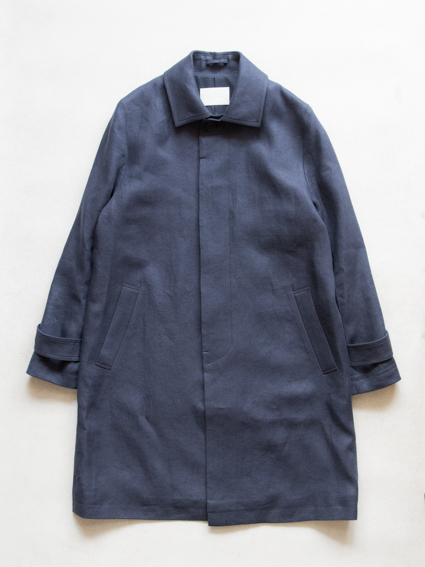 Irish Linen Stain Collar Coat (Navy)