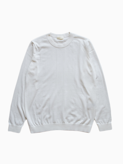 Fine Gauge Cotton L/S Sweater (White)