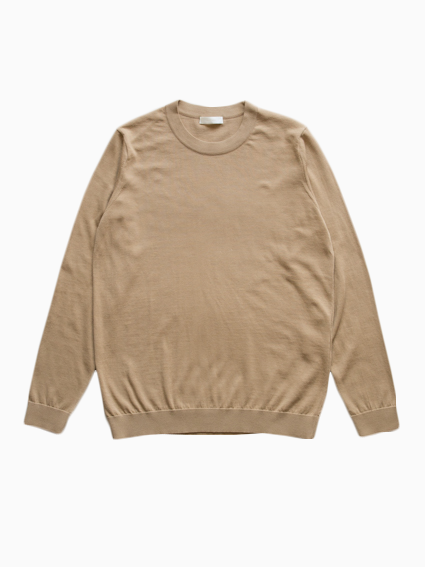 Fine Gauge Cotton L/S Sweater (Beige)