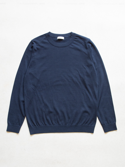 Fine Gauge Cotton L/S Sweater (Navy)