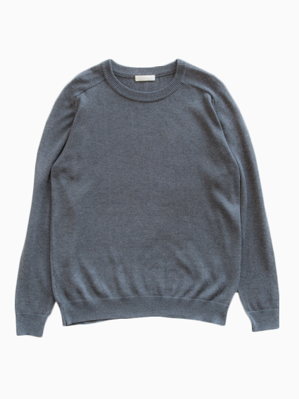 Silk Cashmere Crew Neck Sweater (Grey)