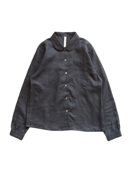 Linen Round Collar Blouse (Black) - Lady`s