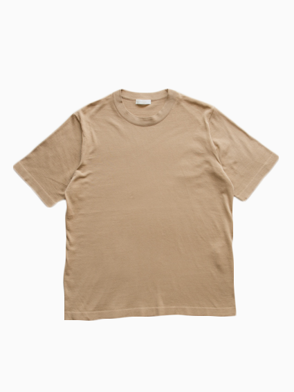 Fine Gauge Cotton S/S Sweater (Beige)