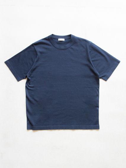 Fine Gauge Cotton S/S Sweater (Navy)