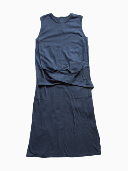 Organic Cotton Sleeveless Wrap Dress (Midnight)