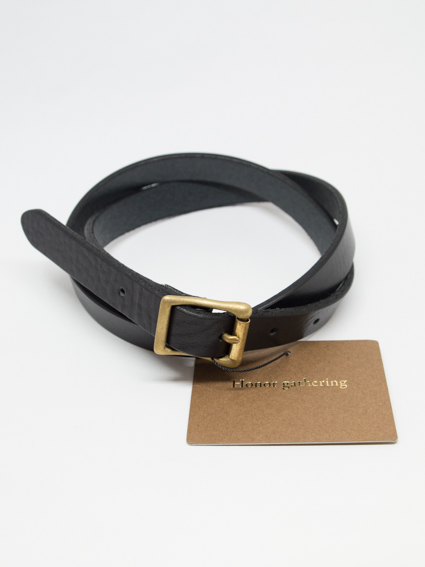 italian shrink leather narrow belt(black)