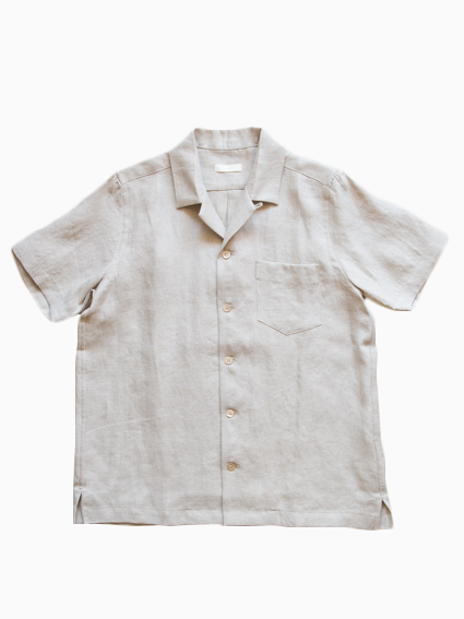 French Linen Open Collar S/S Shirt  (Ecru)