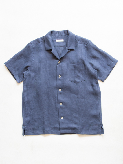 French Linen Open Collar S/S Shirt (Navy)