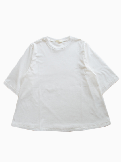 Suvin Cotton Half-sleeve Flare Tee (White)
