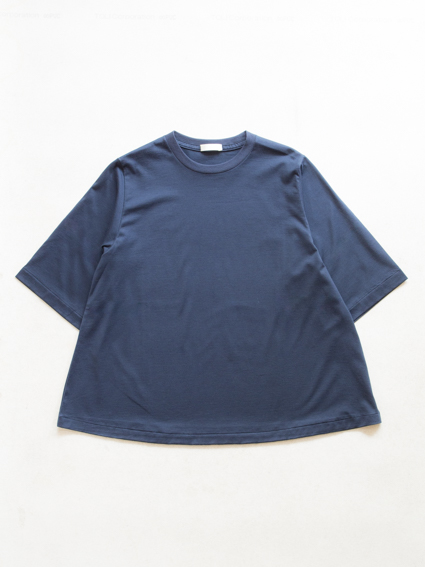 Suvin Cotton Half-sleeve Flare Tee (Navy)