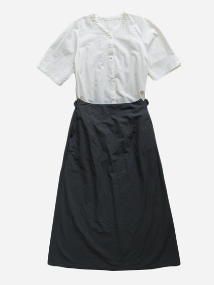 Cotton Collarless Dress (WHT × BLK)