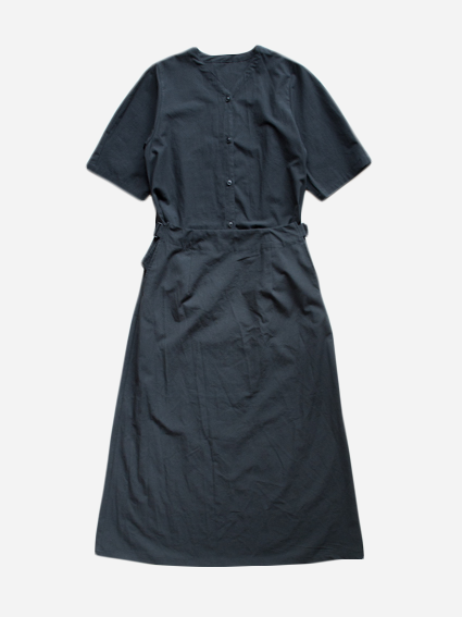 Cotton Collarless Dress (Black)