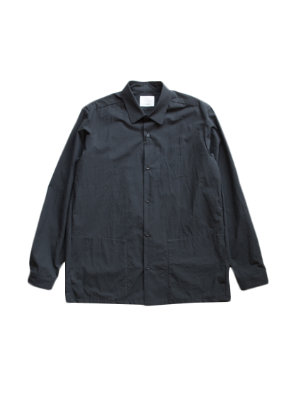 Cotton Round Collar Shirt (Black)