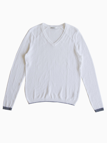 TARV Cotton V Neck Sweater (WHITE)
