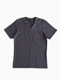 Honor gathering V-neck T-shirts 刺繍あり(Gray)