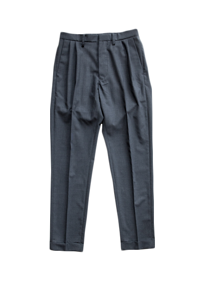 boil wool stretch tropical slacks(d.charcoal)