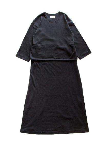 Cotton Belted 3/4 Sleeve Dress (Black)