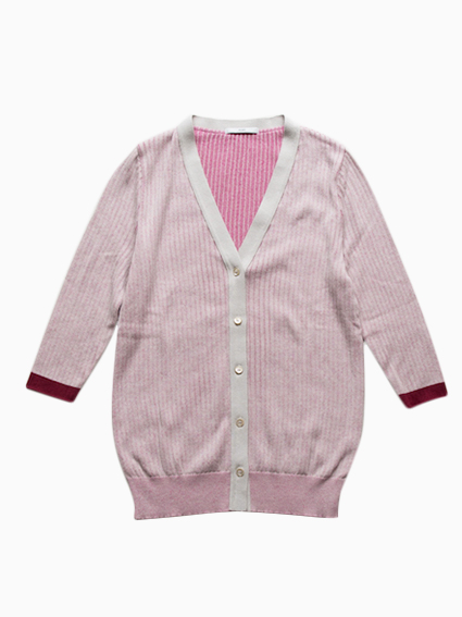 TARV Cotton Rib Cardigan (Pink)