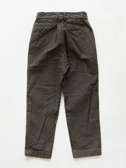 Honor gathering W face slab cotton Pants (khaki)