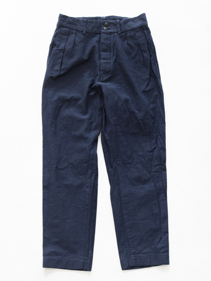 Honor gathering W face slab cotton Pants (blue)