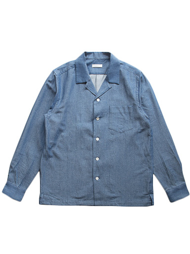 Cotton Wool Denim Open Collar Shirt (L.Indigo)