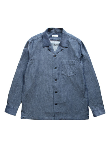 Cotton Wool Denim Open Collar Shirt (D.Indigo)