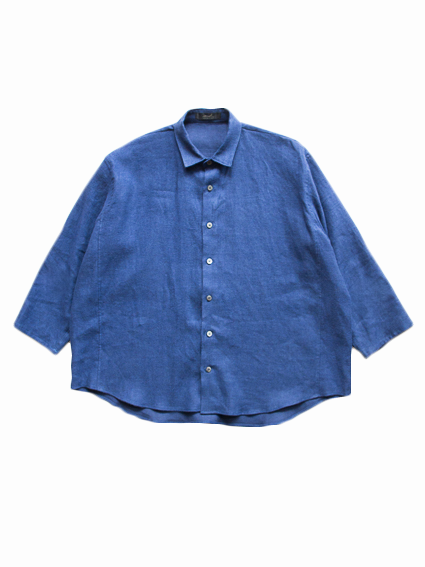 semoh Raised Linen Wide Shirts (Blue)