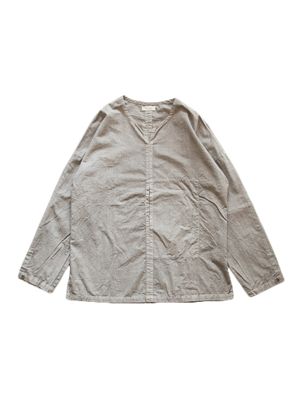 Cotton Poplin Pullover Shirt (Gray)