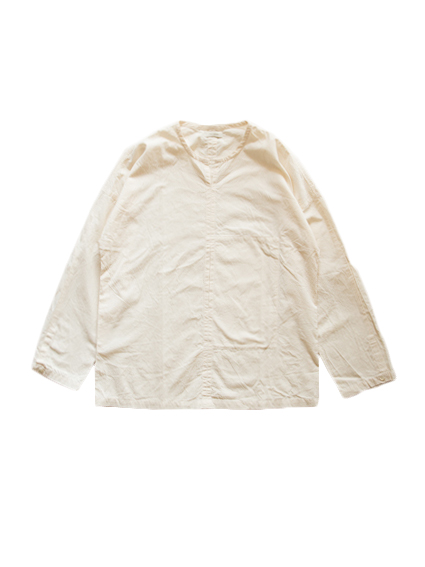 Cotton Poplin Pullover Shirt (Natural)