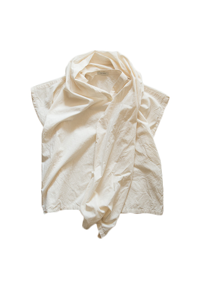 Cotton Poplin Stole Cape (Natural)