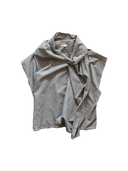 Cotton Poplin Stole Cape (Gray)