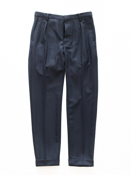 Honor gathering wool flannel Pants (herring bone)