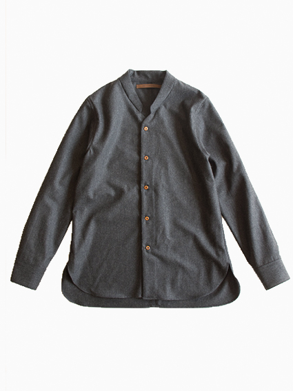 Honor gathering Wool Dressy Shirt (charcoal gray)