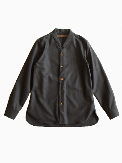 Honor gathering Wool Dressy Shirt (dark navy)