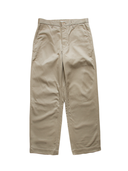 Giza Cotton Wide Chino Pants (Beige)