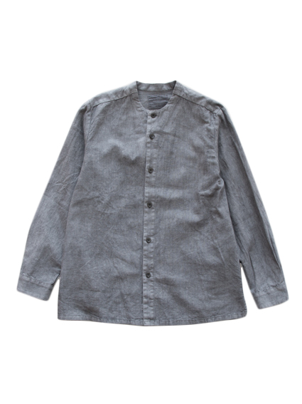 THE HINOKI Linen Cotton Stand Collar Shirt (Gray)