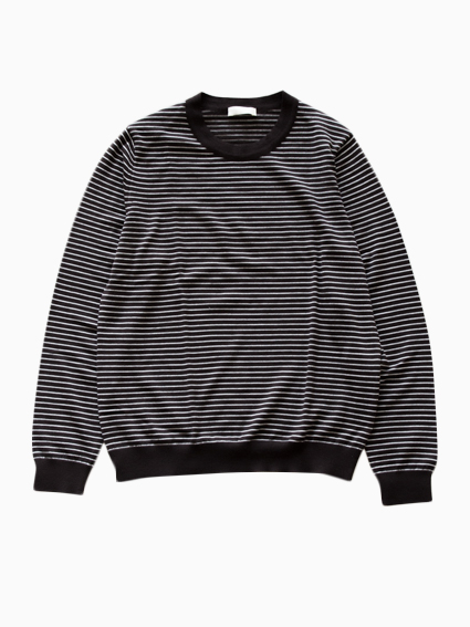 niuhans Pinstripe Crew Neck Sweater (Brown)