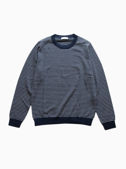 niuhans Pinstripe Crew Neck Sweater (Navy)