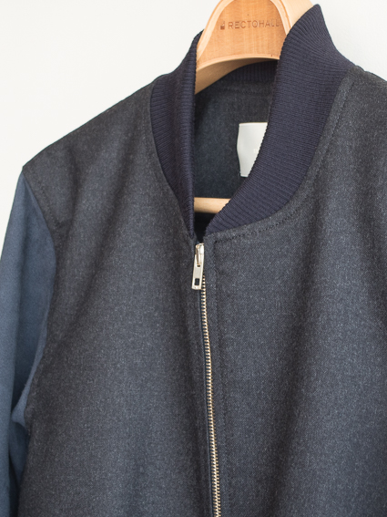 niuhans Sheepskin Sleeve Bomber Jacket (C.Grey)