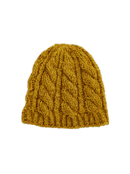 Cashmere Cable Knit Cap (Mustard)